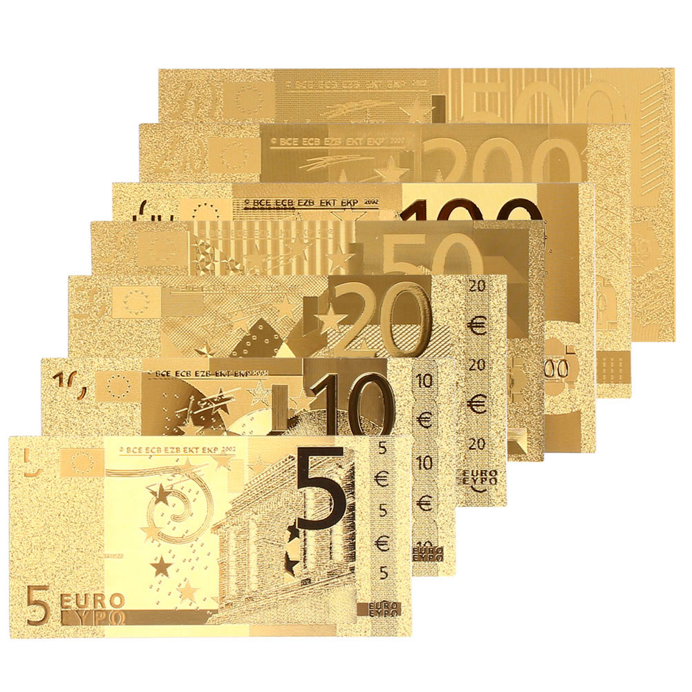 5 10 20 50 100 200 500 Euro Commemorative Notes Realistic Antique Plated Gold Souvenir Fake Money Home Decoration Coin