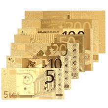 Moneda de decoración para el hogar, billetes conmemorativos de Euro chapado en oro antiguo realista, dinero falso, 5, 10, 20, 50, 100, 200, 500