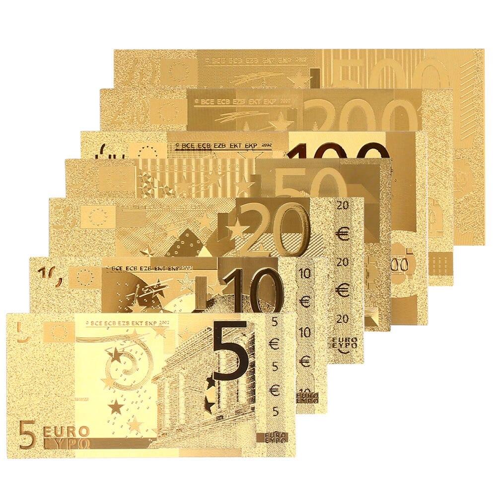 5 10 20 50 100 200 500 אירו הנצחה הערות מציאותי עתיק מצופה זהב מזכרות מזויף כסף עיצוב הבית מטבע
