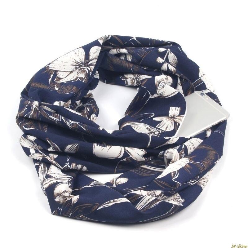 Womens Double Layer Secret Hidden Zipper Pocket Infinity Loop Scarf Blending Floral Leaves Leopard Printed Winter Ring Blanket