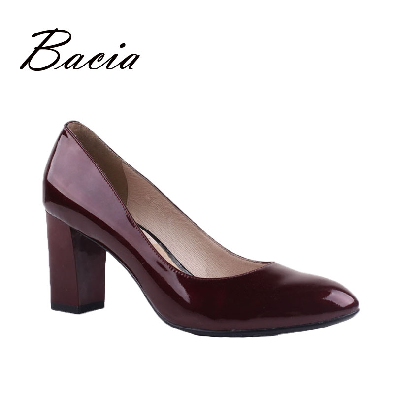 Bacia Women's Pumps High Heels Slip On Fashion Thich Heel Patent Leather Shoes Sexy Party Shoes Euro Size 36-40 Wine Red VD039 fashion black patent leather high heels women sexy pointy stiletto high heel pumps trendy rivets slip on high heel party shoes