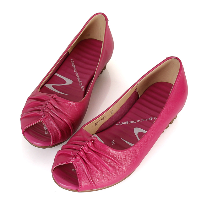 2013 genuine cowhide leather open toe cow muscle slip-resistant outsole wedges sandals women's shoes