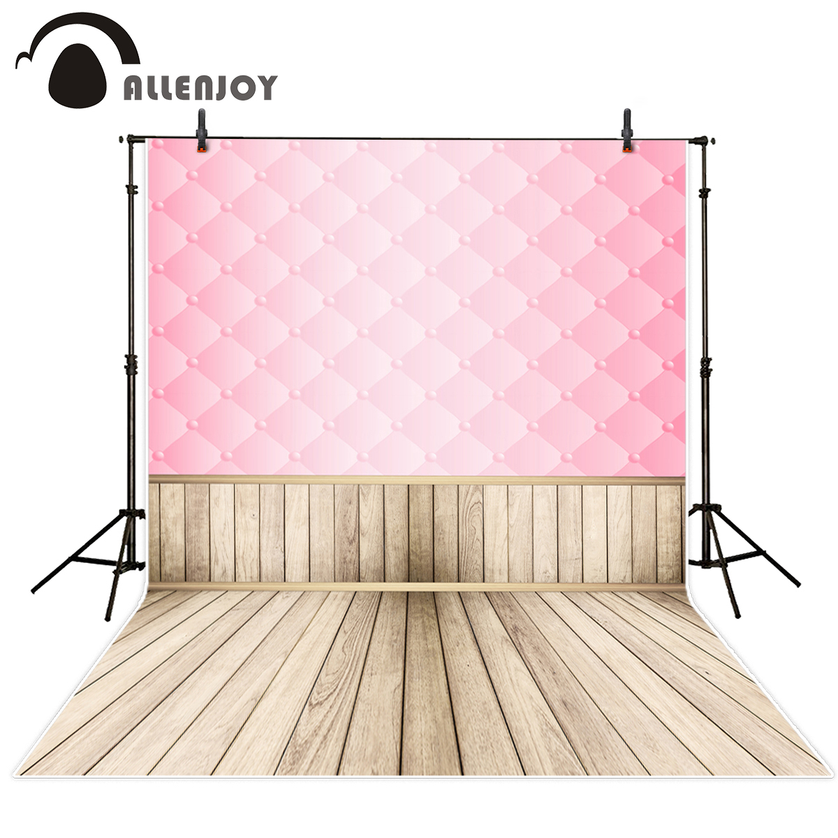 Allenjoy photography backdrops Pink headboard wooden board floor for children For a photo shoot the cloth photographic