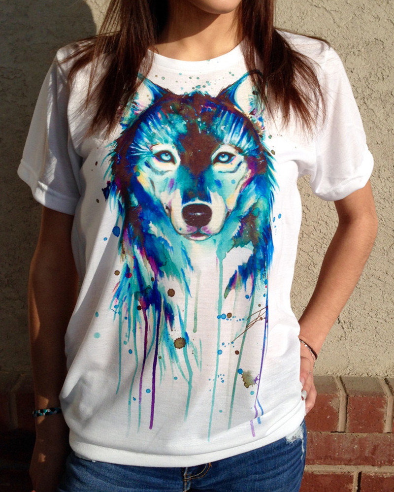 de309ce7a 2016 new fashion summer style white harajuku women casual dog 3d print  short sleeve t shirt tee tshirt camisetas mujer tops-in T-Shirts from  Women's ...