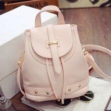 En 2016 le nouveau sac à dos sac en cuir PU tissu de mode voyage simple noir riz blanc rose