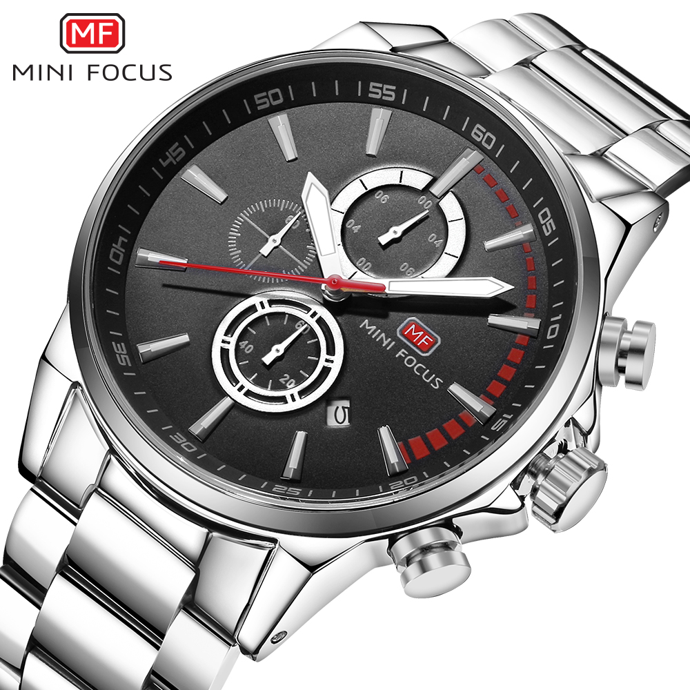 Top Brand Luxury MINI FOCUS Men Chronograph Quartz Business Watch Men Sports Stainless Steel Military Watches Male Analog Clock mini focus top brand men stainless steel quartz watch luxury chronograph wristwatch calendar men sports watches male blue clock