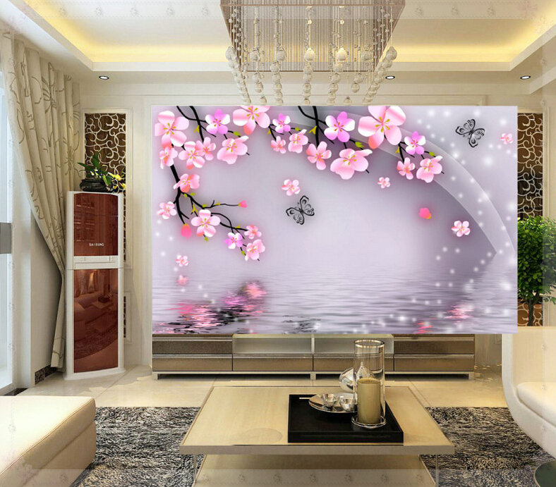 Aliexpress Com Buy Cheap Sales Super 3d Simple And Stylish Bedroom Living Room Tv Background Peach Blossom Wallpaper Wallpaper Wall Covering Mural From