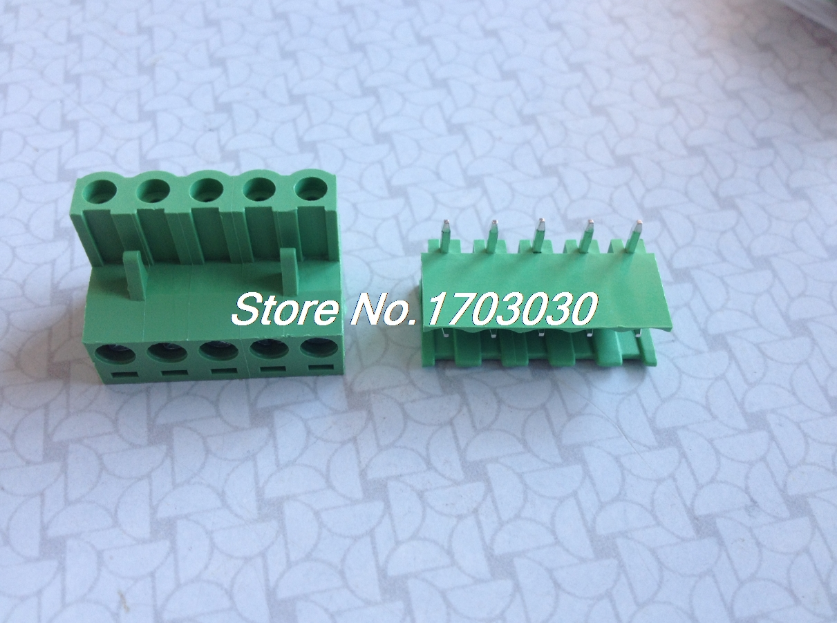 20 pcs 5.08mm Close Angle 5 pin Screw Terminal Block Connector Pluggable Type 150 pcs screw terminal block connector 3 5mm angle 7 pin green pluggable type