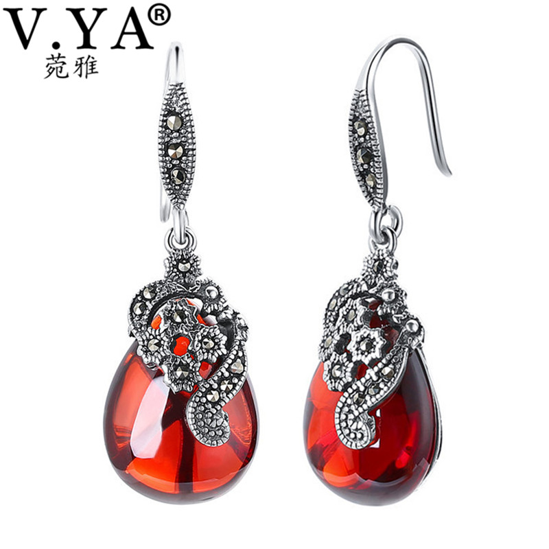 V.YA Nature Style Red Stone Earrings 925 Sterling Silver Water Drop Earrings Vintage Jewelry For Women Female Mother Gifts серьги висячие vintage style pentacle earrings