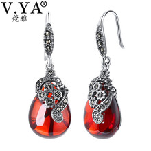 V.YA Nature Style Red Stone Earrings 925 Sterling Silver Water Drop Earrings Vintage Jewelry For Women Female Mother Gifts
