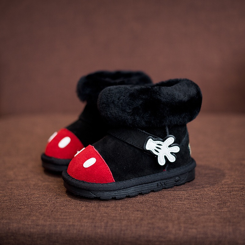 WENDYWU kids snow boots children fashion fur boots baby boys brand Mickey kids boots girls genuine leather shoes black size21-30 цена 2016