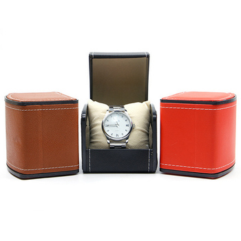 Hot fashion Luxury PU Leather Watch Box 10*9*8cm Red/Black/Brown Flip Watch Display Box Watch Storage Box Factory Direct Sales free shipping 3 grids watch display box red high light mdf watch boxes fashion watch storage box piano paint jewel gift box d019