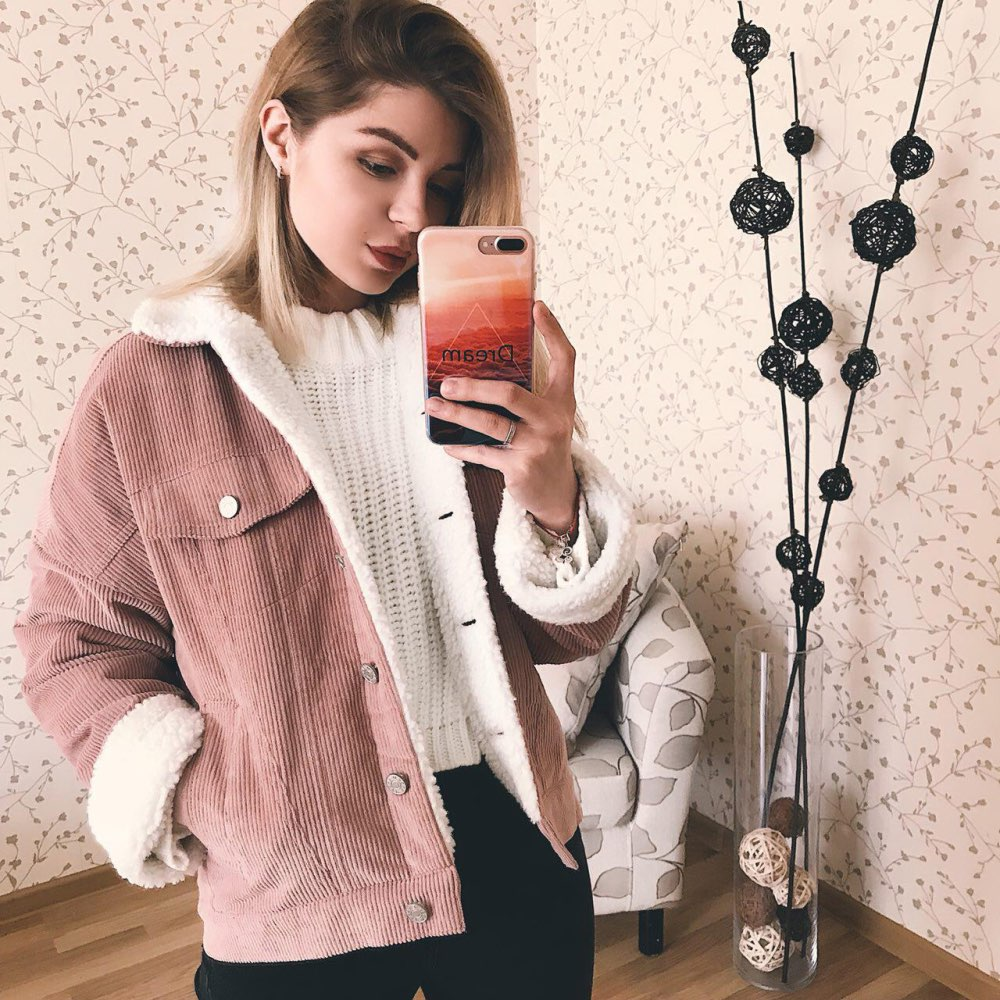 Image 4 - Toyouth Autumn Winter Corduroy Basic Jacket Lambswool Bomber Jacket Women Long Sleeve Jacket Casual Single Breasted Denim Jacket-in Jackets from Women's Clothing
