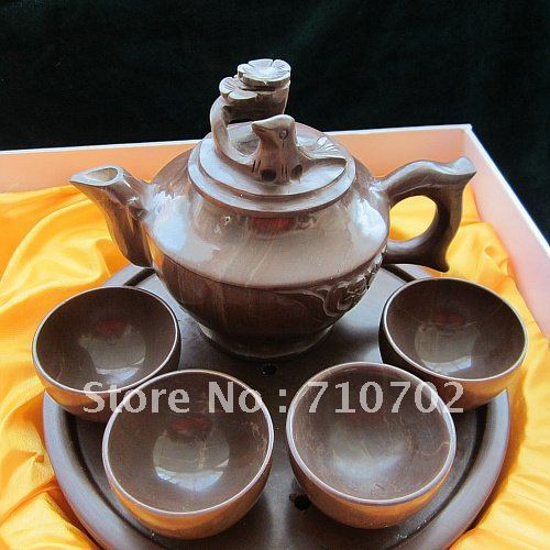 Chinese tea set.wooden fish stone Teaset with flower and bird design