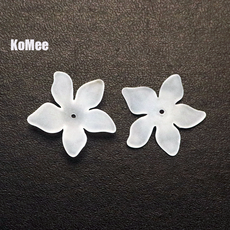 Jewelry Beads Accessories And Packaging Display Store  Wholesale 200pcs/lot White Frosted Acrylic Petals Flower Beads Pendant 27mm Craft Necklace DIY Beads For Jewelry Making