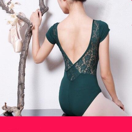 Для женщин Балетные костюмы гимнастический костюм женский взрослый ребенок с коротким рукавом Кружева Racerback комбинезон Танцы купальник Ко