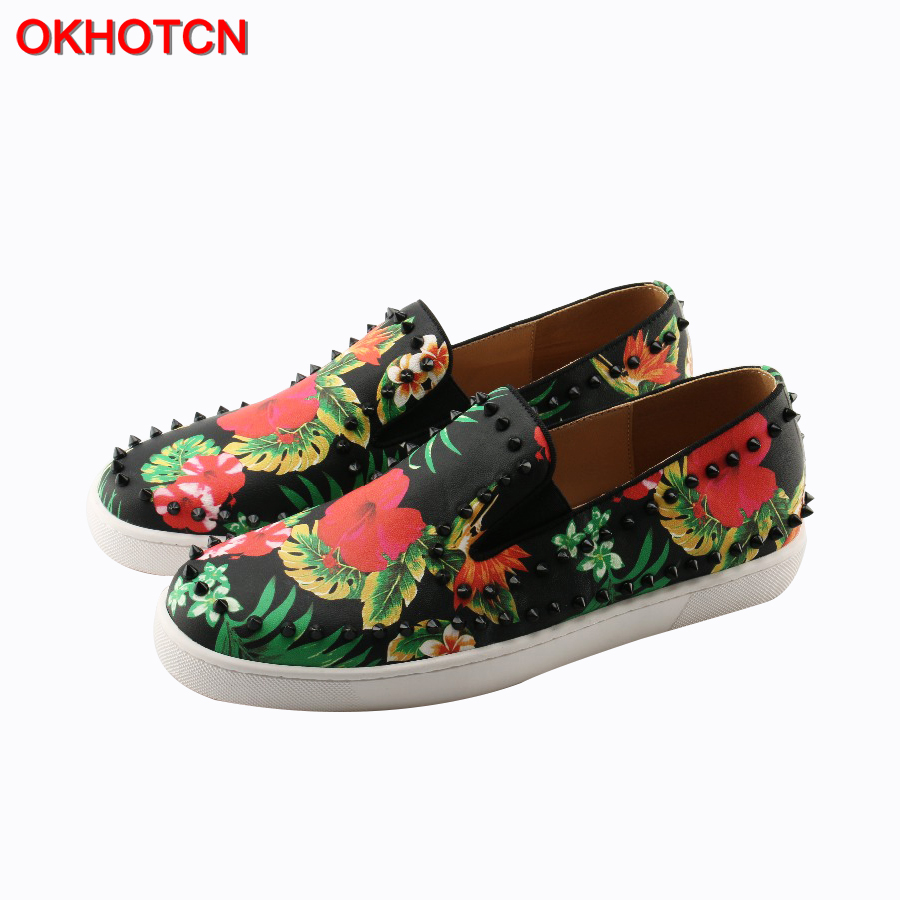 OKHOTCN Handmade Fashion Leather Slip On Men Loafers Casual Shoes Rivets Studded Round Toe Flower Printing Spikes Men Flat Shoes