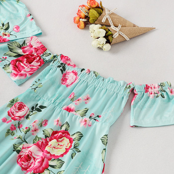 off shoulder mother mom and daughter dresses family matching outfits mommy and me clothes family look floral mum mama baby dress 4