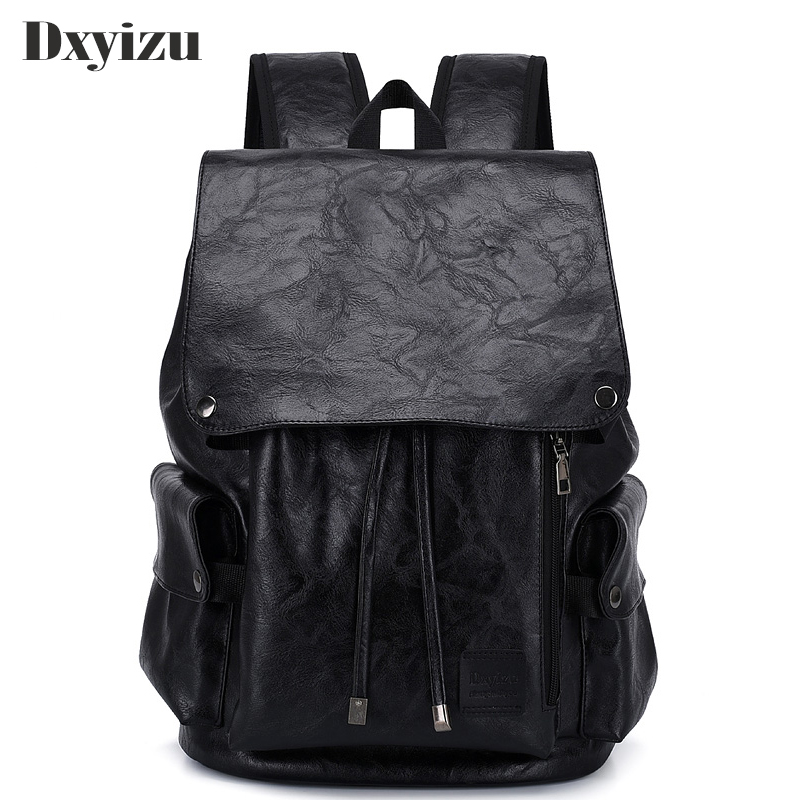 New Fashion Soft Leather Casual Backpack for Teenager Boys Men Travel Casual School Bag Backpack Preppy College Mochila Male image