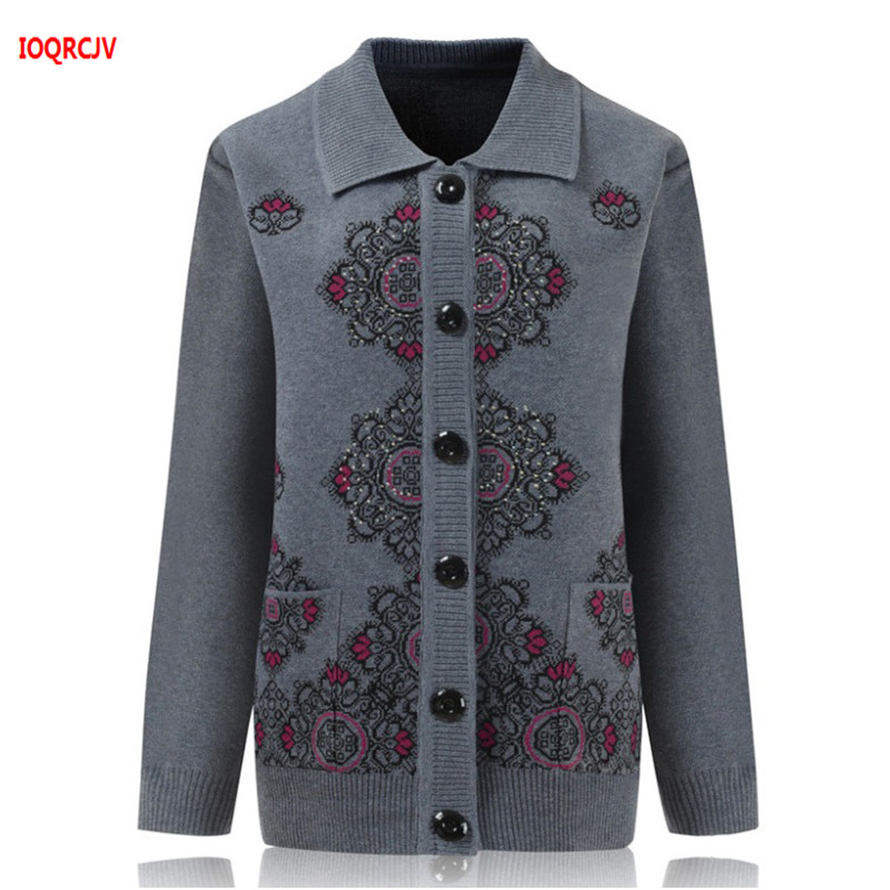 Middle Age Mother Knitted Cardigan Sweater Coats 2019 Autumn Plus Size 4XL Women Knitwear Tops 60-70 Old Grandma Clothes WQ1101