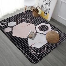 Nordic geometric modern large size carpet Bedroom living room floor mat sofa Bedside rug velvet printed non-slip door