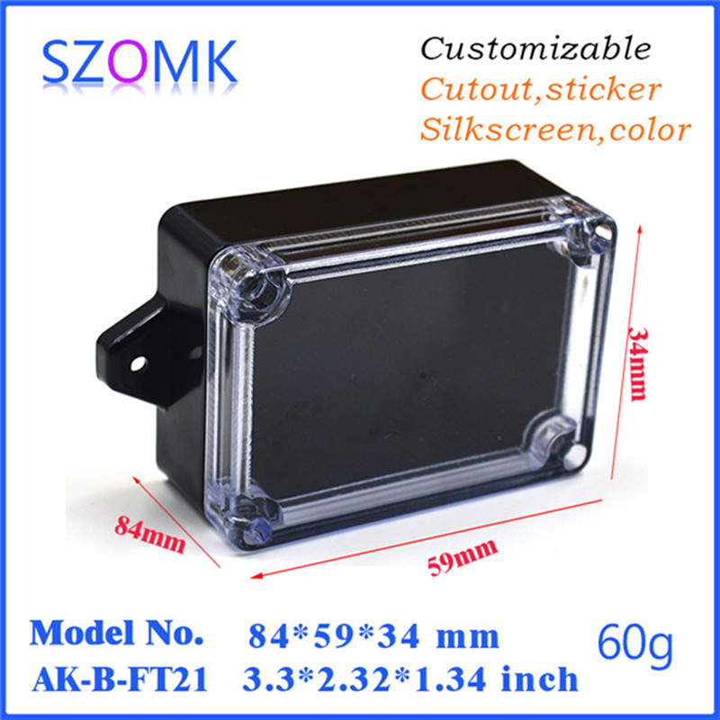 10 pcs 84 59 34mm szomk IP65 waterproof enclosure plastic project box plastic electronic housing