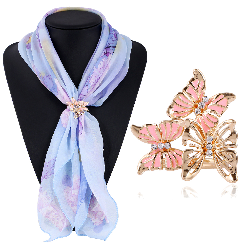 3 Colors Fashion Gold Plated Rhinestone Butterfly Scarf Buckle Brooch Women Silk Scarf Jewelry Shawl Scarves
