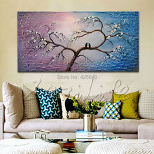 Hand Painted Palette Knife sakura Tree Oil Painting Wall Art Canvas Picture Modern Abstract Home Decor Living Room Bedroom