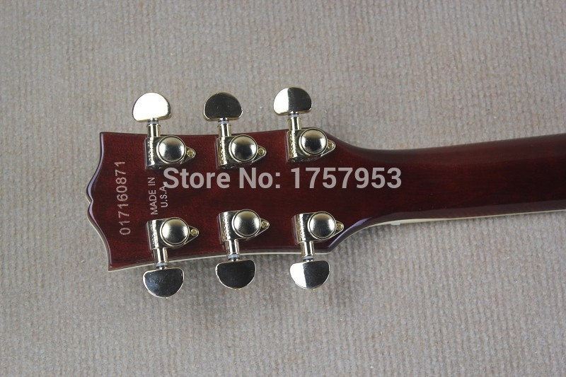 Free Shipping Factory custom shop 2017 new Top Quality One Piece Neck custom Wine red tiger stripes electric guitar 1 1