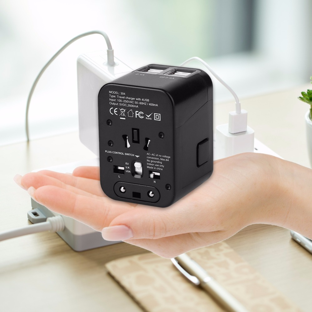 All in One Universal Plug Adapter Travel Charger Adapter Electric Plugs Sockets Converter for US UK EU AU with 4 USB