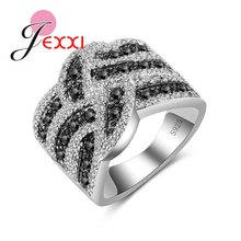 Hot Sale White Black Cross Ring Wide Knot Loop Jewelry 925 Sterling Silver Women Girls Christmas Gifts Drop Shipping(China)
