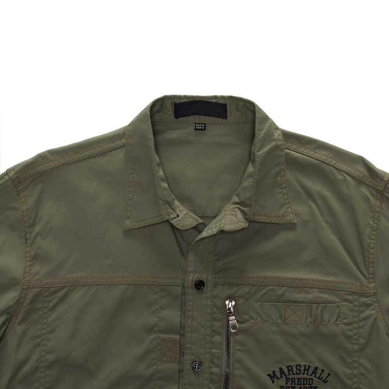 MAGCOMSEN 2019 camisas de verano para hombres de manga larga de algodón de estilo militar ejército camisas de vestir transpirables para hombres ropa GZDZ-11