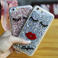 Sexy Girl Red Lips Eyelash Case For iPhone 6 6S Plus Luxury Glitter Powder Soft TPU Silicone Back Cover For iPhone 6 6S Coque