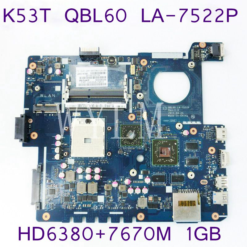 K53T QBL60 LA-7552P With HD6380/7670M 1GB Mainboard For ASUS K53TA X53T K53TK laptop motherboard REV 1.0 100% Tested Working k73ta for asus k73t x73t k73ta k73tk r73t latop motherboard rev 1a qbl70 la 7553p hd7670m 1gb mainboard 100% tested ok