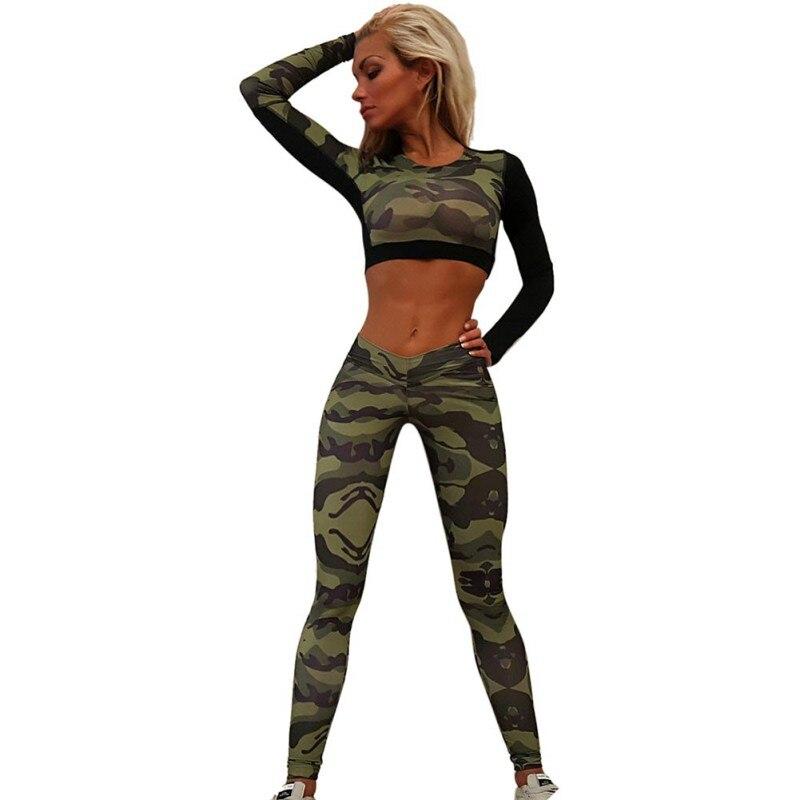Costume-Set Tracksuit Pants Tops Camouflage Women's Shirt Comprehensive-Training-Set