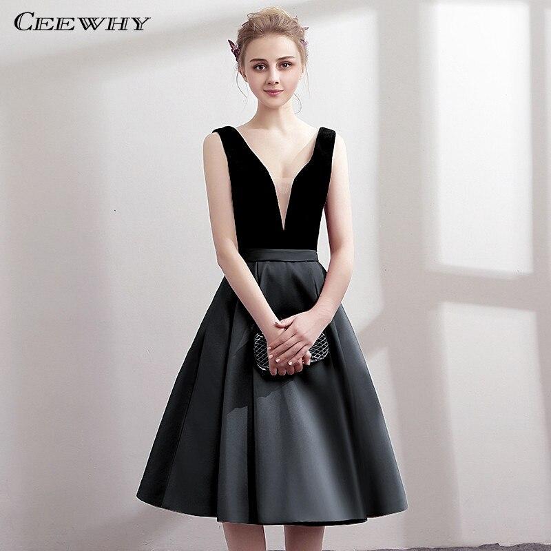 CEEWHY V-Neck Open Back Satin Dress Elegant Knee Length Robe Cocktail Dresses Short Graduation Dresses Vestidos Coctel Mujer