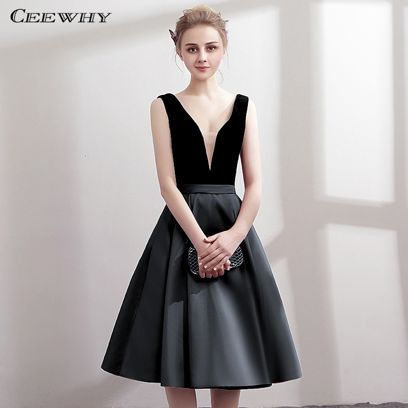 CEEWHY V-Neck Open Back Satin   Dress   Elegant Knee Length Robe   Cocktail     Dresses   Short Graduation   Dresses   Vestidos Coctel Mujer