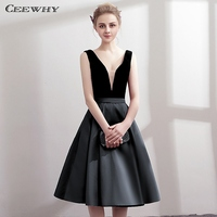 CEEWHY V Neck Open Back Satin Dress Elegant Knee Length Robe Cocktail Dresses Short Graduation Dresses Vestidos Coctel Mujer