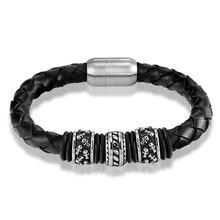 Janeyacy популярный Европейский модный мужской браслет кожаный