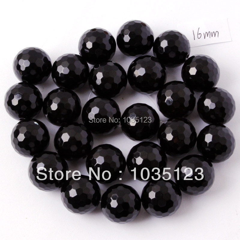 Free Shipping 16mm Natural Faceted Round Shape Black Agates Onyx Gems Loose Beads Strand 15 DIY Jewellery Making w245