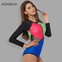 AONIHUA 2018 Sexy Mesh One Piece Swimsuit Women Front zipper Surfing Patchwork Swimwear female Long sleeve swimming suit casio часы casio mrw 200h 2b2 коллекция analog