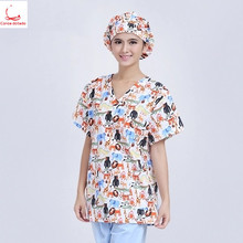 Womens set printed hand-washing clothes medical pure cotton fabrics can be sterilized at high temperature