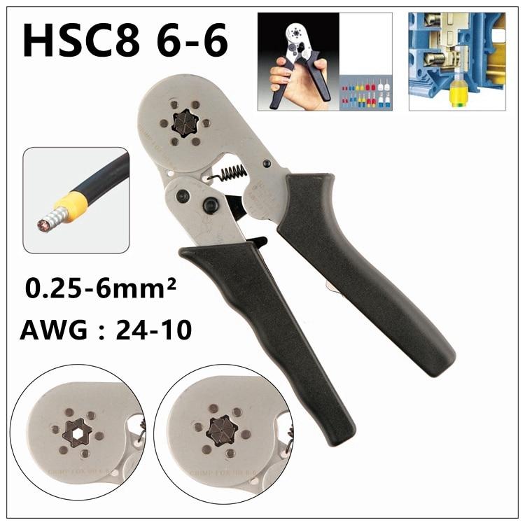 MXITA Needle type terminal HSC8 6-6 MINI-TYPE SELF-ADJUSTABLE CRIMPING PLIER 0.25-6mm terminals crimping multi tools