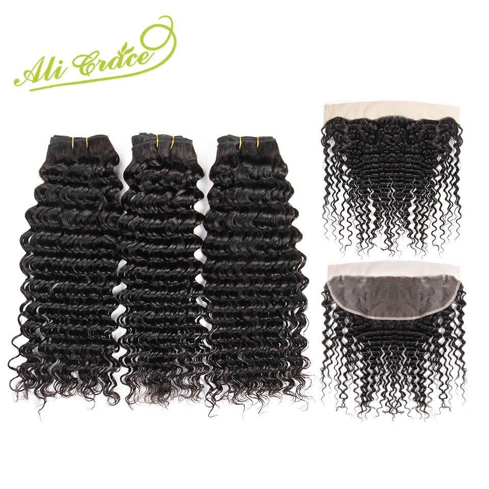 Malaysian Deep Wave 3 Bundles With Frontal 13 4 Free Middle Part Ear to Ear Lace