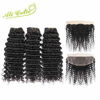Malaysian Deep Wave 3 Bundles With Frontal 13*4 Free Middle Part Ear to Ear Lace Frontal Ali Grace Remy Human Hair
