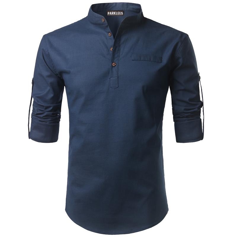 Tunique col Mao bleu marine, manches longues, avec poche