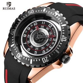 RUIMAS роскошный силиконовый кварцевый ремешок часы для мужчин 3 бар водонепроницаемые наручные часы Мужские лучший бренд Relogios Masculino часы RN549 Р...
