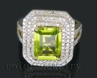 Август Изумрудное кольцо 8x10 мм Solid 14kt желтое золото природных алмазов кольцо из перидота