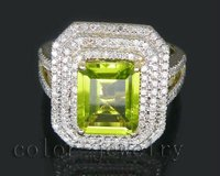 August Emerald Cut 8x10mm Solid 14kt Yellow Gold Natural Diamond Peridot Ring