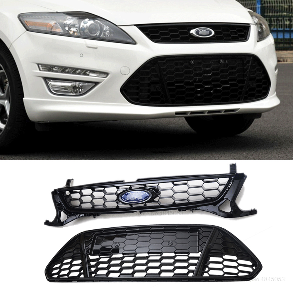 ATIWATT For Ford Mondeo MK4 2011 2012 2013 Exterior ABS Plastic Black Front Bumper Racing Center Grille With Badge Mesh 1pcs
